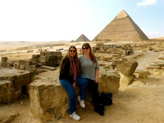 Mom and I visit the Great Pyramids of Egypt.