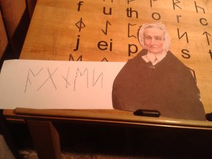 """Flat Agnes with the name """"Agnes"""" written out in Viking runes at the Dublinia museum in Dublin, Ireland"""