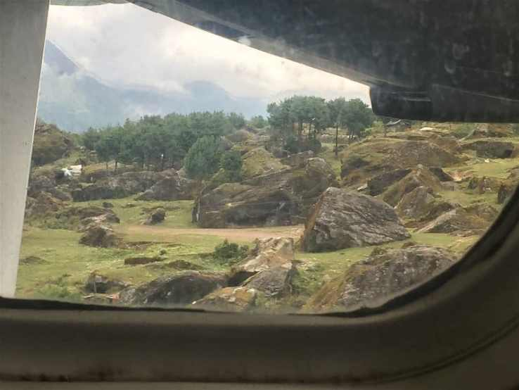A window view of touchdown at Lukla Airport