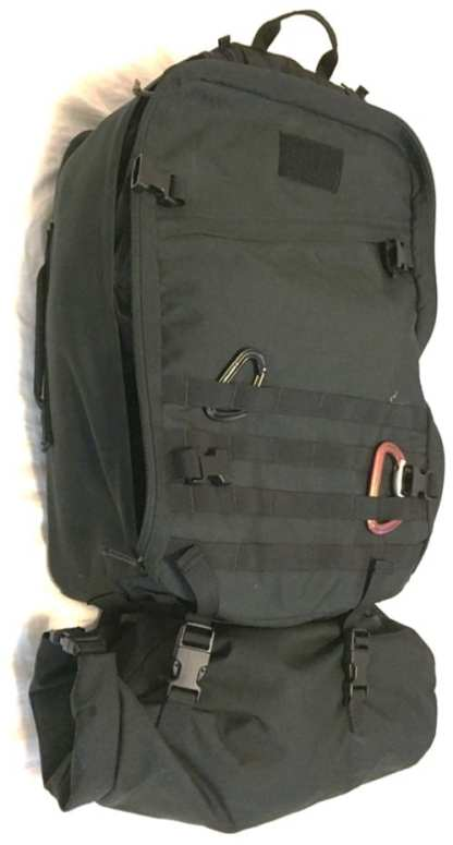 The GORUCK GR3 and optional, compressible Tough Bag that attaches to the bottom total 63 liters making it capable of being a large travel bag, or a carry on
