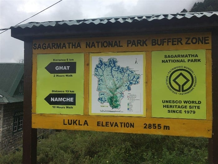 Lukla Town's welcome sign: Trekker's first introduction to Sagarmatha National Park, the home of Mount Everest
