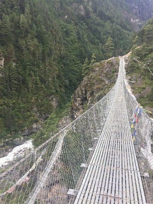 A suspension bridge along the Everest Base Camp Trek between Lukla Airport and Namche Bazaar