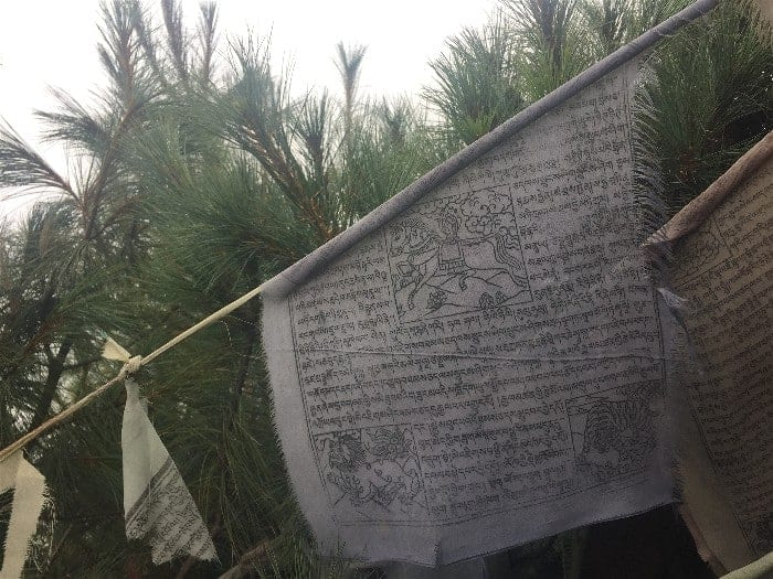 Prayer flags abound on the road to Everest, inscribed with scriptures and religious texts