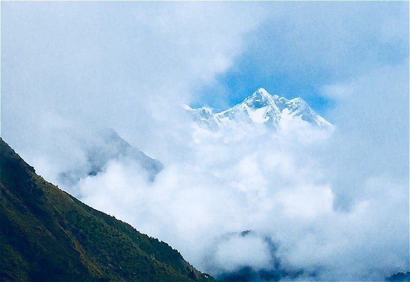A view of the Himalayas from the Everest View Hotel