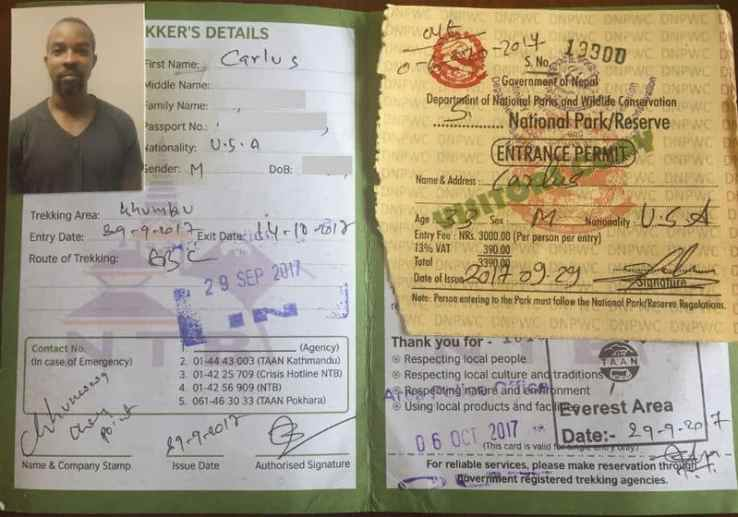 The Trekker Information Management System (TIMS) registration card. Do not lose this! You'll need it throughout the Everest Base Camp Trek and to leave the Sagamartha National Park