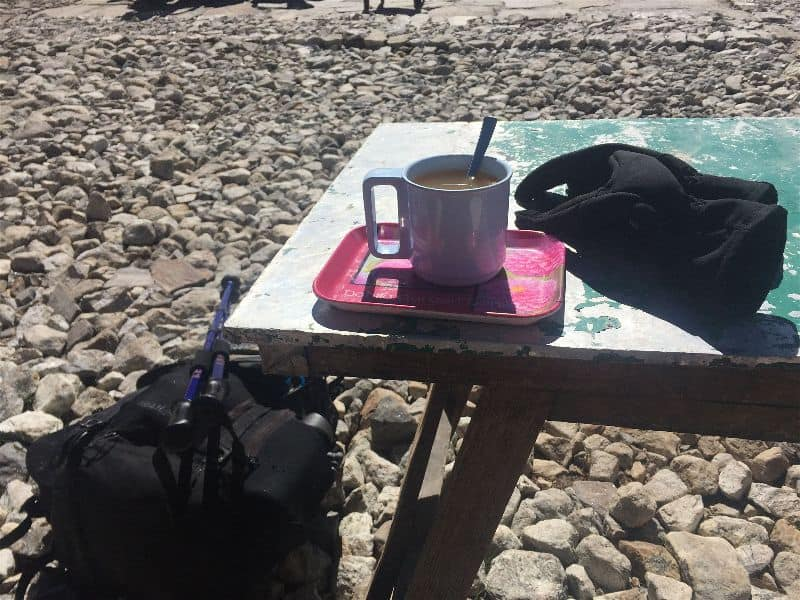 The little treats, like an actual seat to sit on while resting, a ginger tea, and chats with other trekkers and porters are all fond memories from the EBC trek