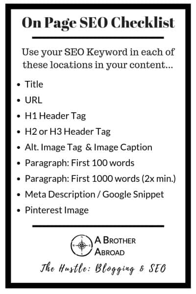 How to Use SEO Keywords: A Checklist for On Page SEO