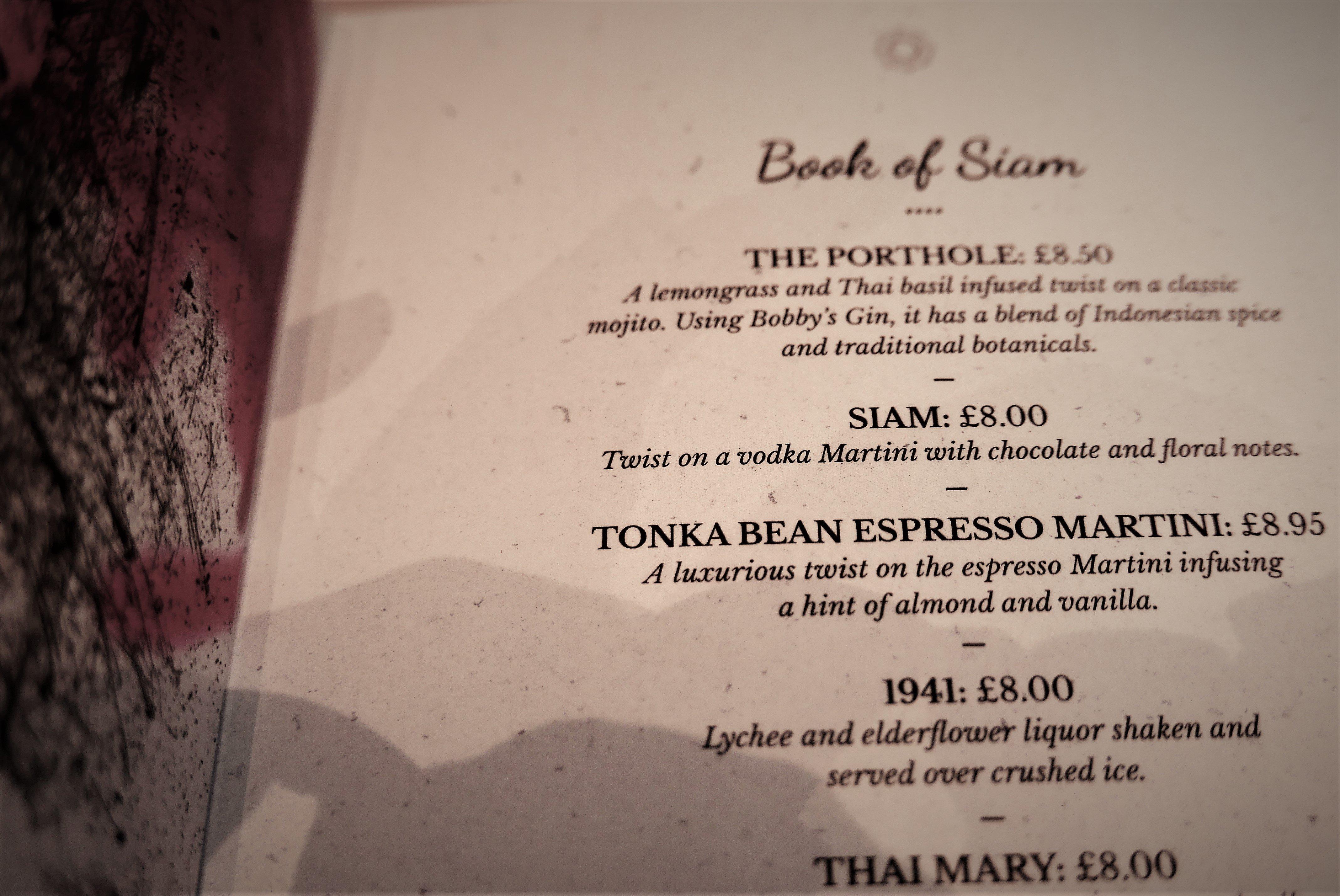 The Cocktail Menu at Siamais