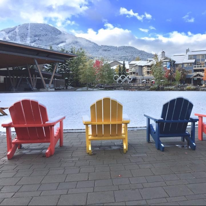 Colourful wooden chairs overlook a snowy Olympic Plaza