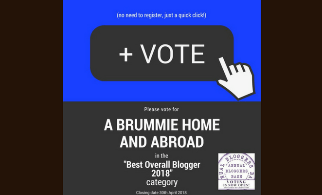 7 reasons to vote for A Brummie Home and Abroad for Best Overall Blogger