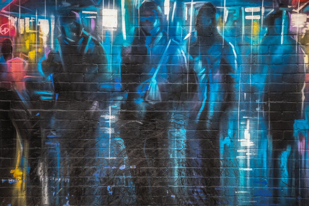 Street art by Dan Kitchener, found at the Custard Factory rising several stories high