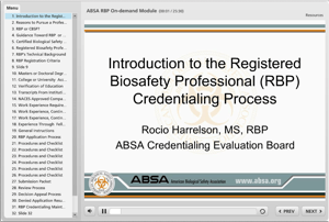 Introduction & Overview of ABSA's Registered Biosafety Professional (RBP) Credential