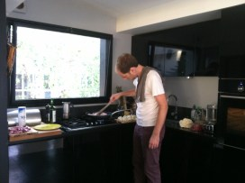 Andy testing out our kickass new kitchen.