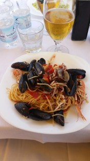 Reward of spaghetti and fresh seafood.