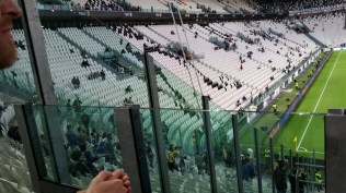 We sat next to the visitors' fan section, which is separated by high walls and lots of security. When Frosinone tied the game late, we saw why the barrier was necessary.