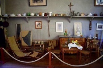 Cezanne's studio, including actual still life objects.