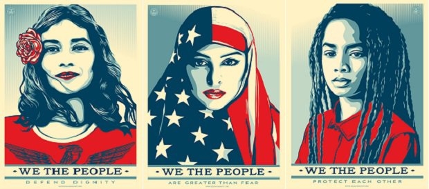 Shepard Fairey posters, Amplify Foundation.
