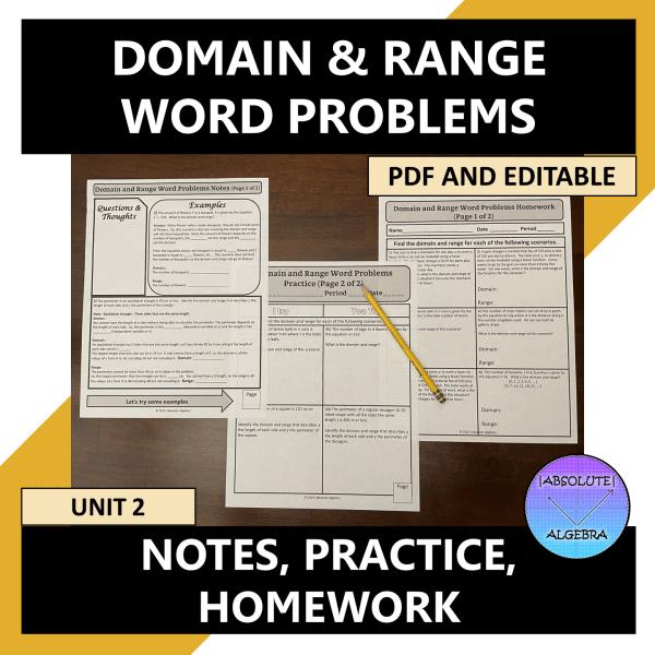 Algebra I Domain and Range Word Problems