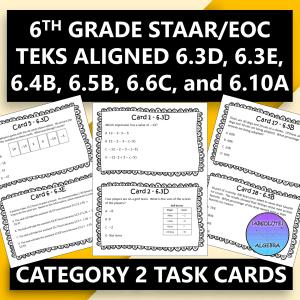 6th Grade STAAR EOC Task Cards Category 2