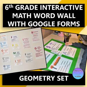 Interactive 6th Grade Math Word Wall Geometry
