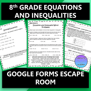 Equations and Inequalities Escape Room Google Forms