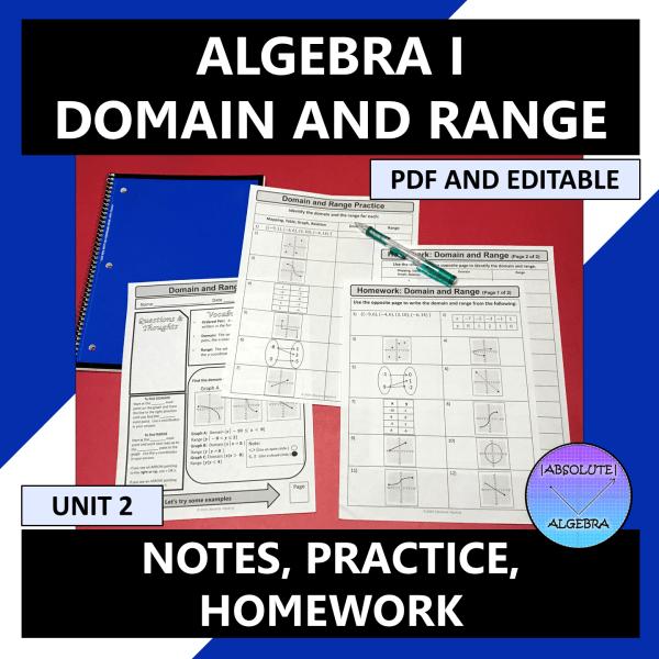 Algebra I Domain and Range Notes Practice Homework