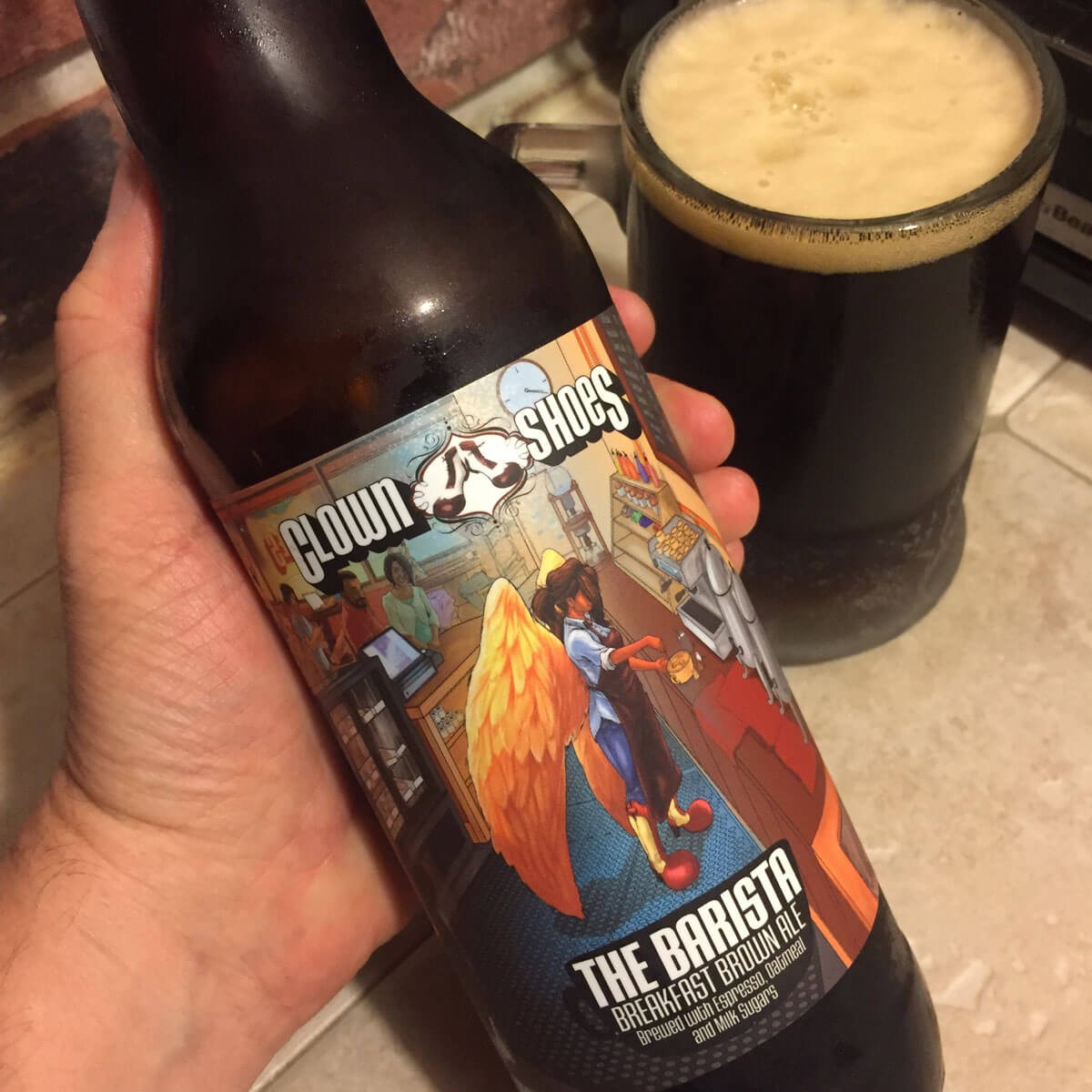 The Barista, an American Brown Ale brewed by Clown Shoes Beer