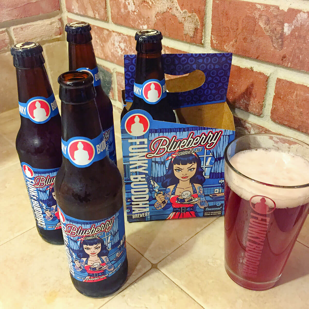 Blueberry Cobbler Ale, an American Wheat Ale by Funky Buddha Brewery