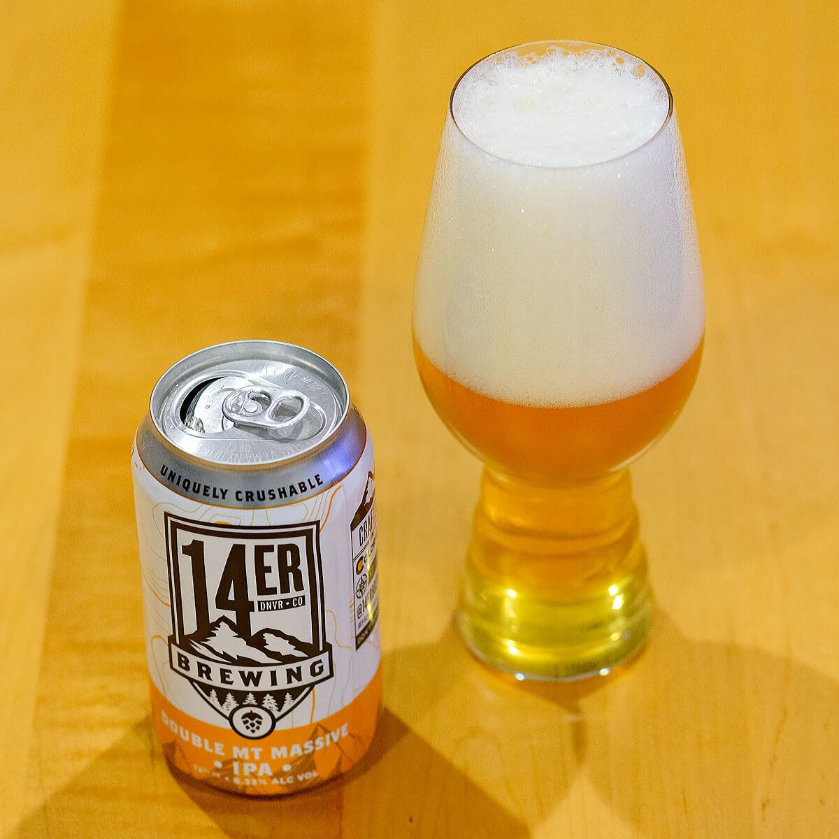 Double Mt Massive IPA is an American Double IPA brewed by 14er Brewing Company