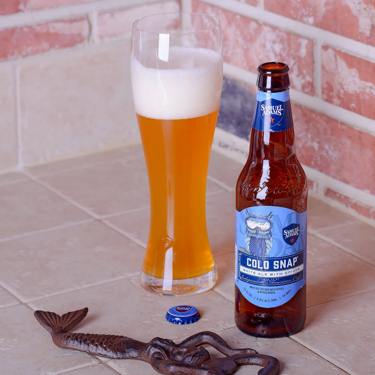 Samuel Adams Cold Snap, a Belgian-style Witbier brewed by the Boston Beer Company