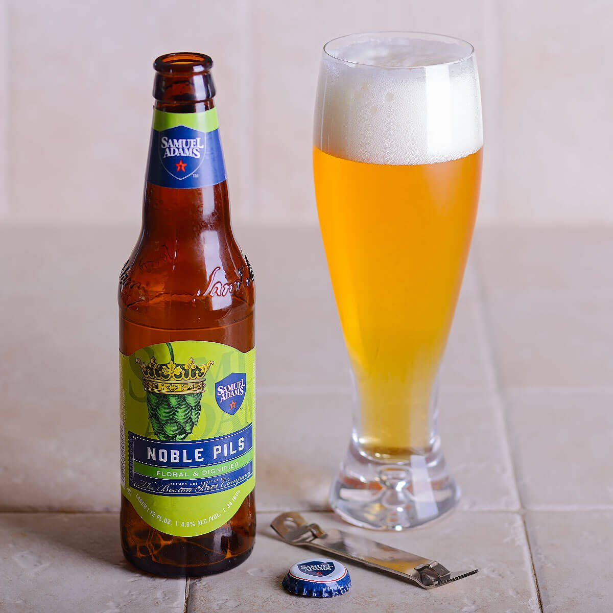 Samuel Adams Noble Pils, a Czech-style Pilsener brewed by the Boston Beer Company