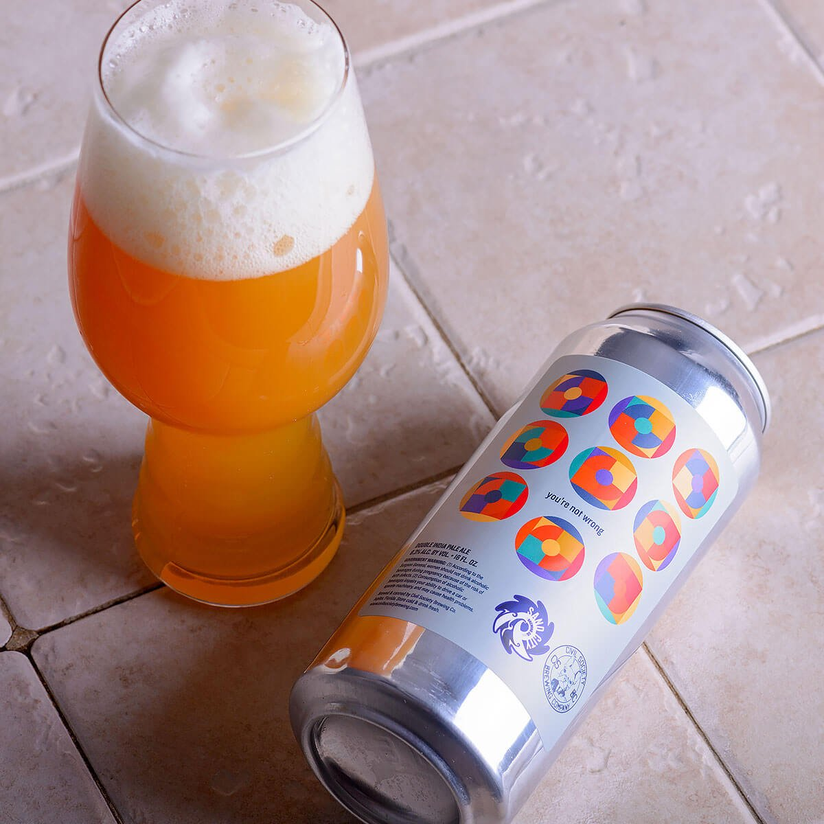 You're Not Wrong, an American Double IPA collaboratively brewed by Civil Society Brewing Co. and Sand City Brewing Co.