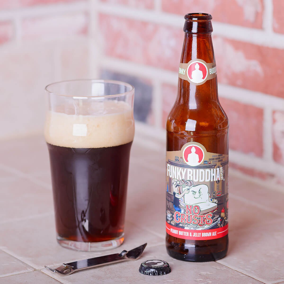 No Crusts, an American Brown Ale by Funky Buddha Brewery