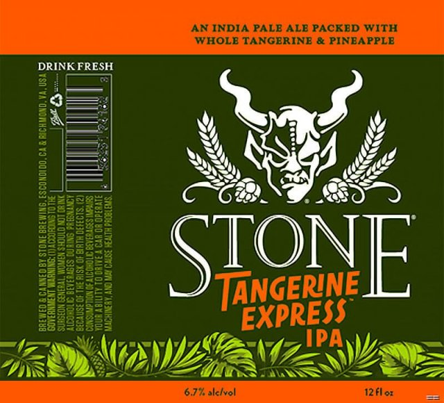 Label art for the Stone Tangerine Express IPA by Stone Brewing