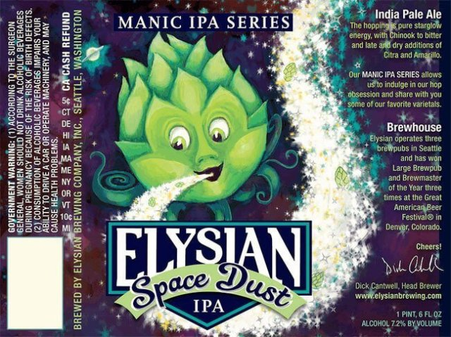 Label art for the Space Dust by Elysian Brewing Company