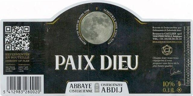 Label art for the Paix Dieu Triple by Brasserie Caulier