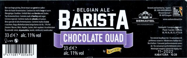 Label art for the Kasteel Barista Chocolate Quad by Brouwerij Van Honsebrouck N.V.