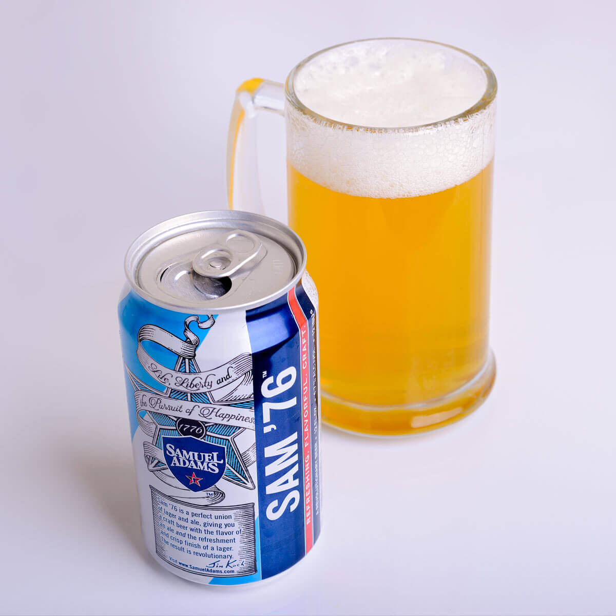 The Samuel Adams beer Sam '76 is an American Pale Lager brewed by the Boston Beer Company that features a light blend of cracker malt and honey; gently hopped with pine and citrus.