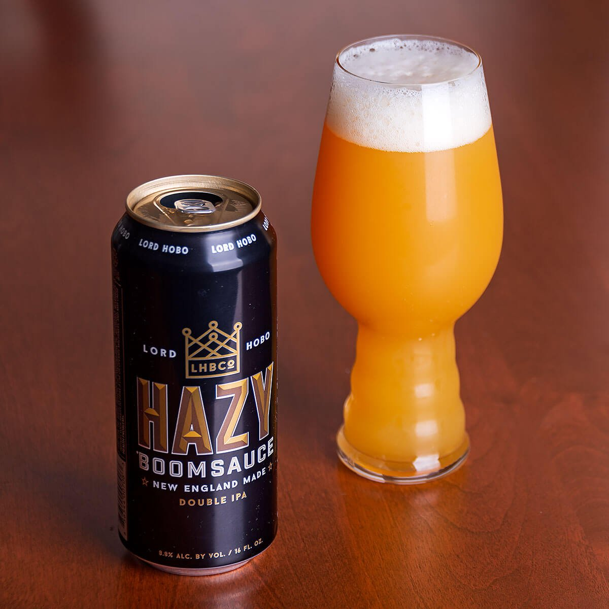 Hazy Boomsauce, a New England-style Double IPA by Lord Hobo Brewing Co.