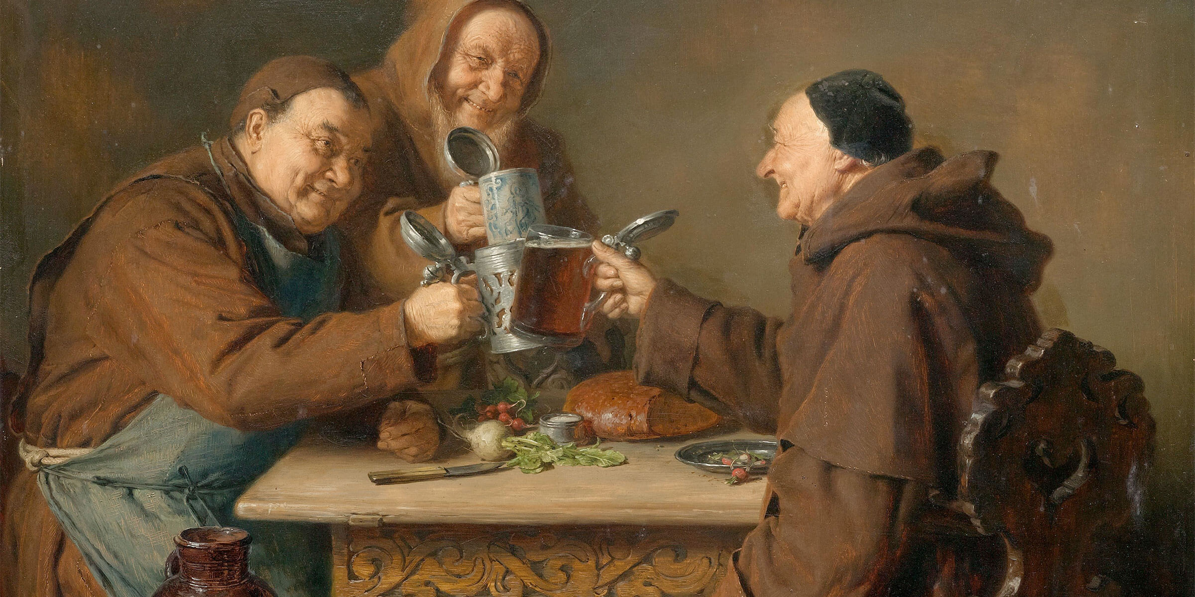 Monks Toasting with Tankards and Mugs of Beer
