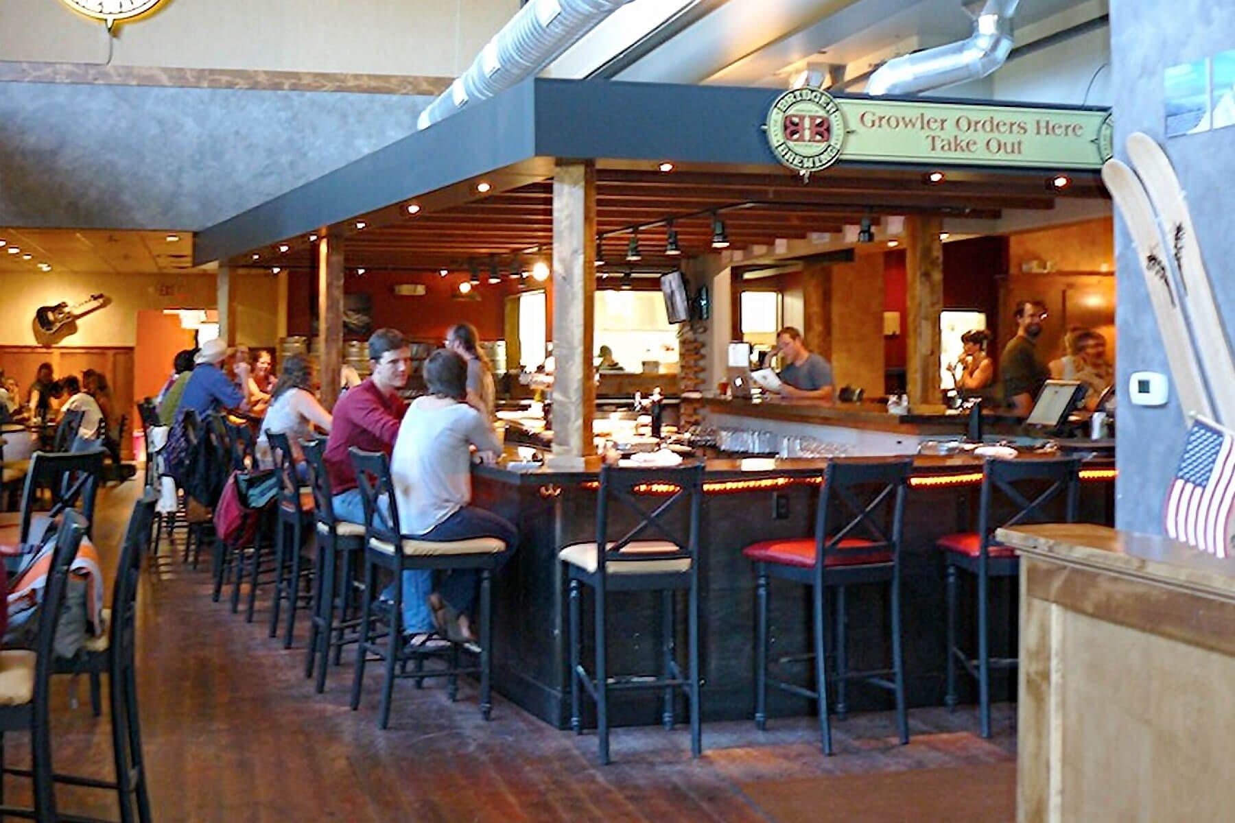 Inside the brewpub at Bridger Brewing in Bozeman, Montana
