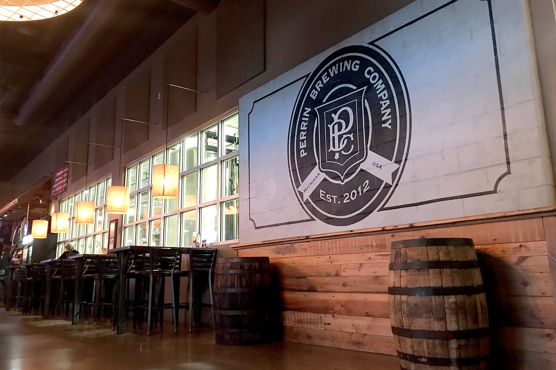 Inside the Tap Room at Perrin Brewing Company in Grand Rapids, Michigan
