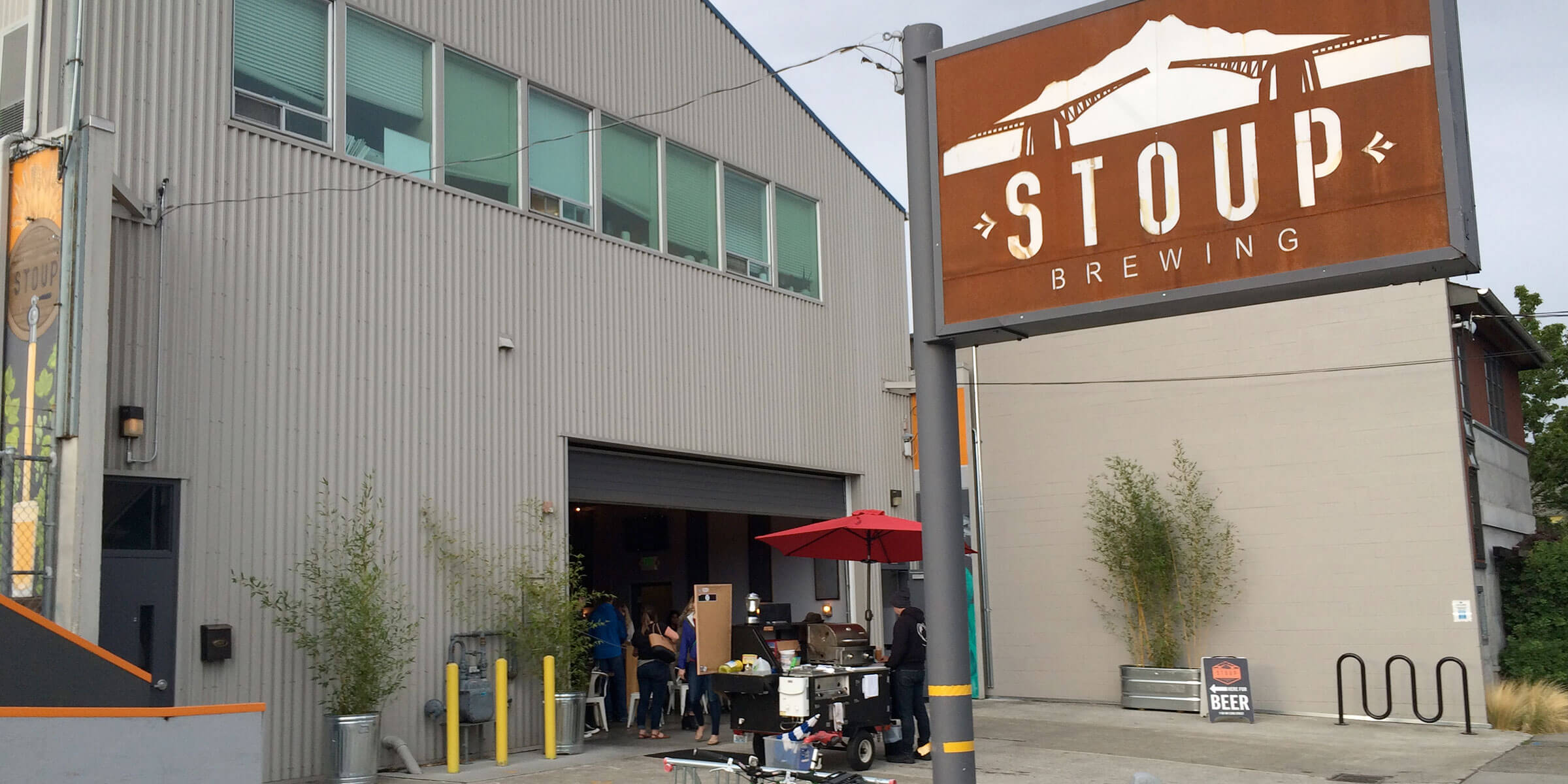 Outside the entrance to Stoup Brewing in the Ballard District of Seattle, Washington