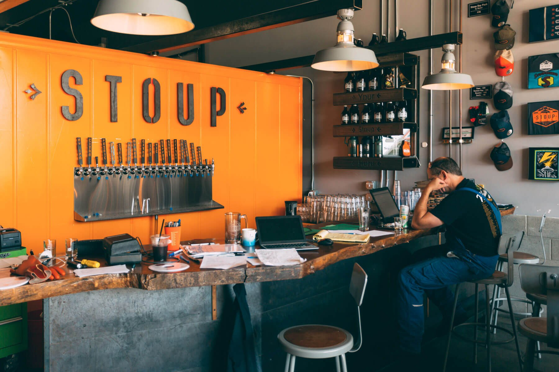 Inside the taproom at Stoup Brewing in the Ballard District of Seattle, Washington