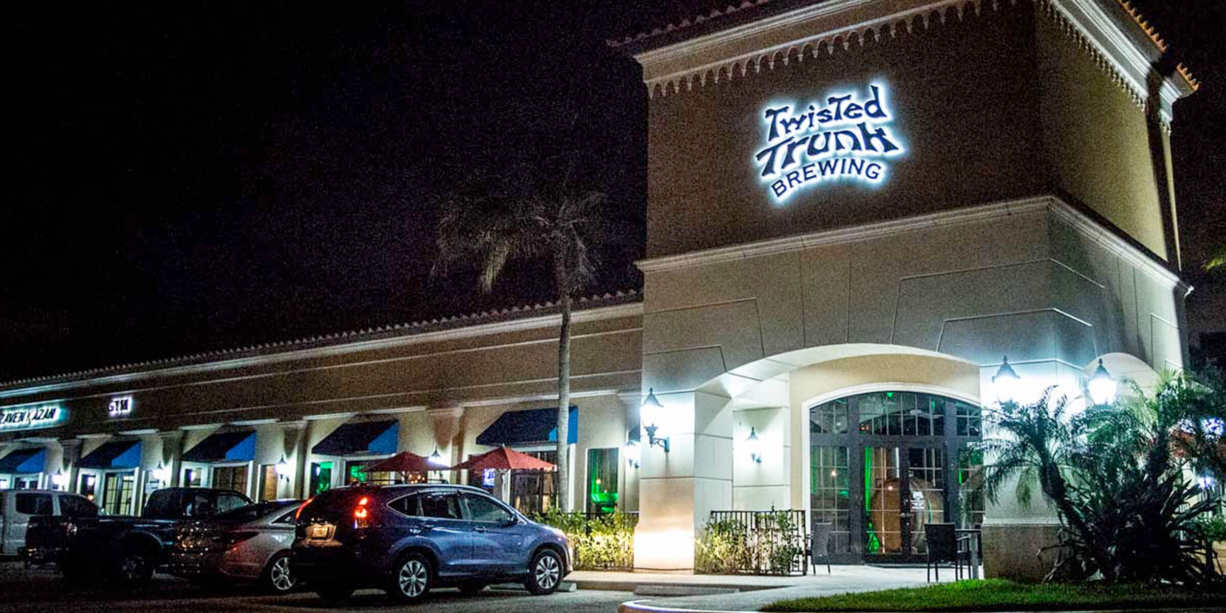 Outside the Tap Room at Twisted Trunk Brewing in Palm Beach Gardens, Florida
