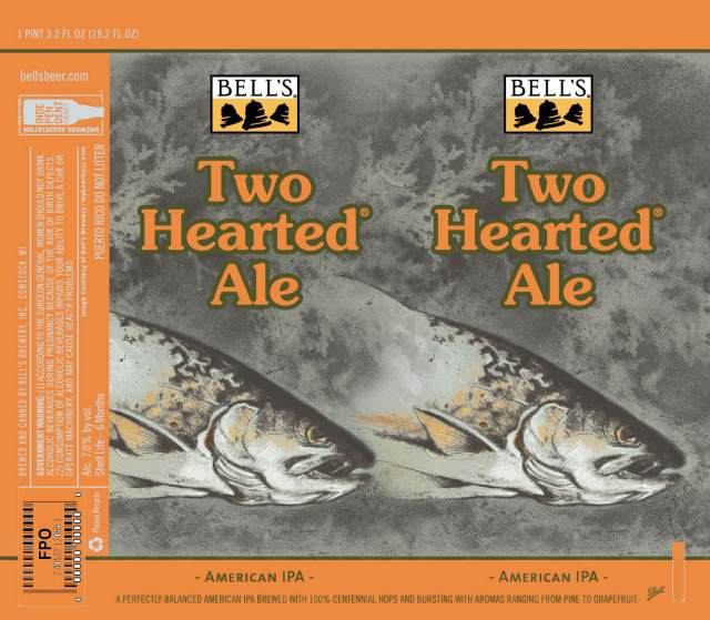 Label art for the Two Hearted Ale by Bell's Brewery, Inc.