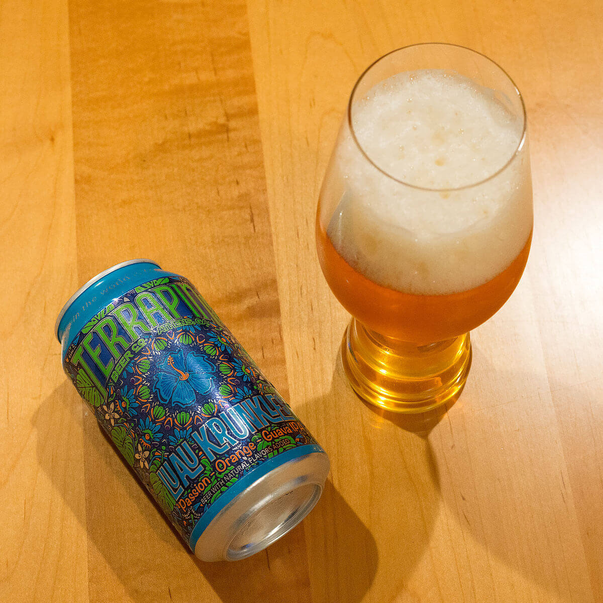 Luau Krunkles is an American IPA by Terrapin Beer Co. that deliciously blends sweet tropical fruit juices and a bite of citrus.
