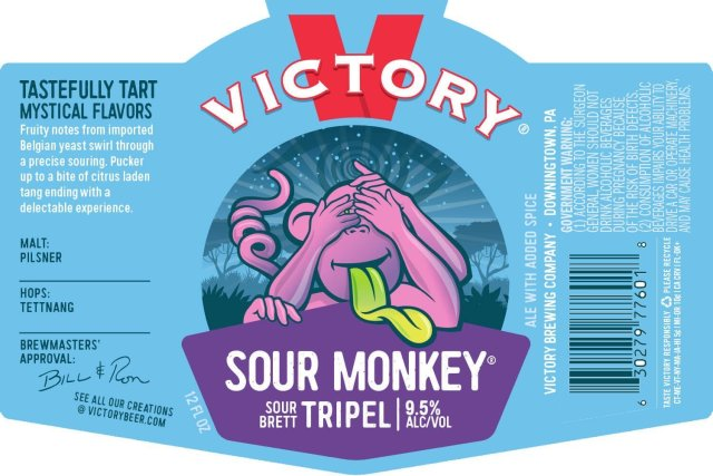 Label art for the Sour Monkey by Victory Brewing Company