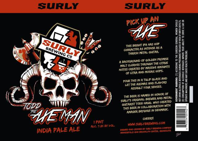Label art for the Todd The Axe Man by Surly Brewing Co.