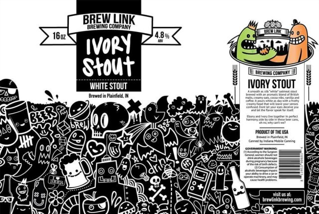 Label art for the Ivory Stout (White Stout) by Brew Link Brewing Company